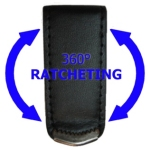 Ratcheting Leather covered metal belt clip (Special Order Only)